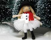 Snow Girl Bendy Doll  by Princess Nimble Thimble - Waldorf Felt Bendable Girl - Snowman Winter Doll, Nature Table Doll or Ornament Option