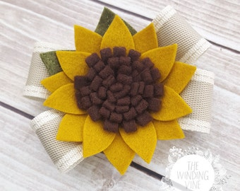 Yellow Felt Sunflower Bow Headband or Clip/Barrette for Baby, Child, Teen, and Adult