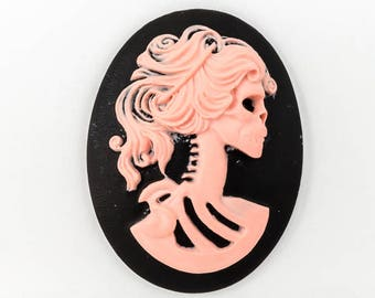 30mm x 40mm Pink and Black Skeleton Cameo #FPC102