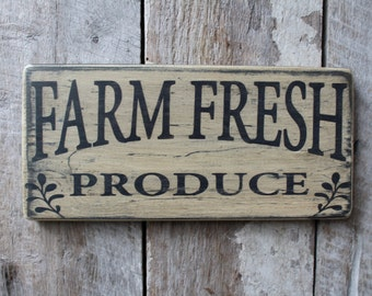 Primitive Wood Sign Farm Fresh Produce Cabin Country Rustic Farmhouse Kitchen Wall Decor Garden Decor Patio Porch Deck Eatery Decor