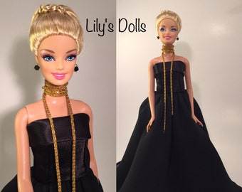 Silkstone, Barbie,  FR Doll clothes, evening gown Victoire Roux, one of a kind Barbie doll, Haute Couture doll fashions