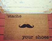 The Fredrick Mustache. DETROIT WHAT. Doormat - CoCo Coir Modern Tagged Outdoor Recycled Natural Custom Doormat