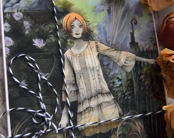 PostCard - Anime - Art card - French Garden - Dream - Redhead - Mori style - Soledad in the Abandoned Garden
