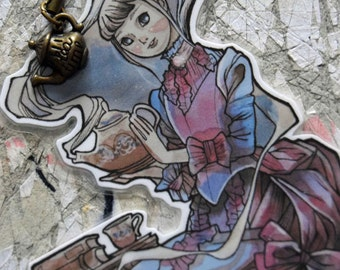 Bookmarks -  Laminated - Charm - Paper Goods - Handmade- Paper Craft  - Tea Time - Tea - Victorian Fashion - Anime Manga - A Cup of Tea