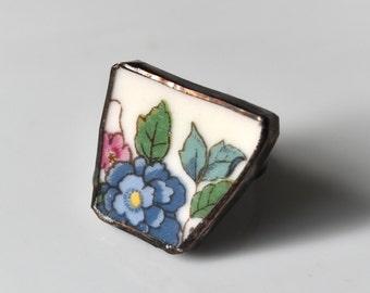 Broken China Ring - Blue Flower