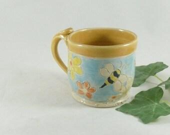 Daisy flower Teacup, Unique coffee mugs, Ceramic Tea Cup,  pottery mug, flower tea cup,  Espresso cup, coffee cup, pottery and ceramics 777