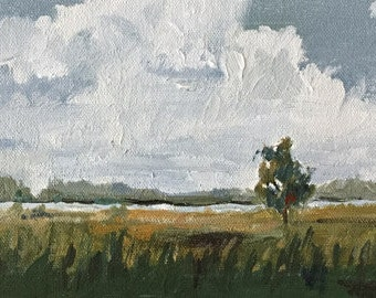 small landscape original painting on canvas 6x12 green landscape original acrylic painting
