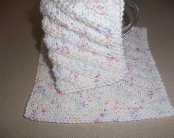Dish Cloths - Hand Knit Dish Cloths - Wash Cloths - Gift Idea - White