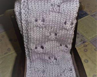 Knit Blanket, Lavender  Doll Blanket. Pale Lavender Doll Blanket/Afghan/Throw. Powder Lavender Knitted Doll Blanket
