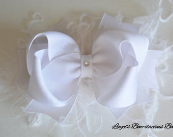 White Sassy Bow with Spikes - Choose Bow or Headband - large bow with feathers - girls bows - bows with spikes