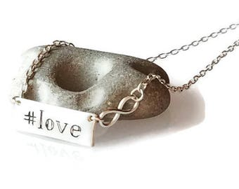 """Hashtag """"Love"""" Bar with Infinity charm Sterling Silver Necklace, Instagram necklace, romanza jewelry"""