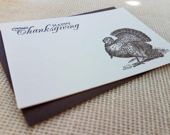 Letterpress Enclosure Card - Thanksgiving Turkey
