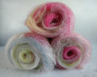 Carded Art Batt - Batt for Spinning - Spinning Fiber - Wool for Felting - Cottage Garden - Merino Wool - Linen - Flax - Sparkle - Rose, Blue