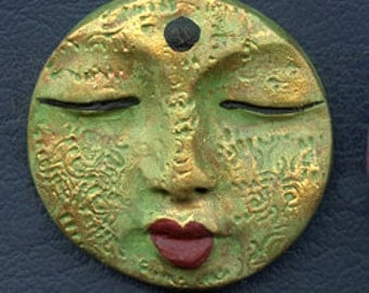 """Polymer clay round Textured Face 1 1/2""""  Green, Gold Detailed TXB 3"""