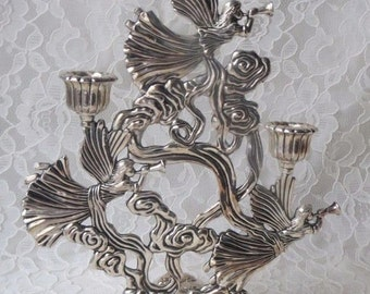 Vintage Godinger Angels Flying In Clouds Silver Plate Candleholder Candelabra