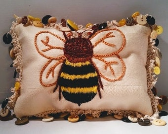 Hand Embroidered Bee Decorative Pillow