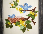 Bluebird Embroidery Picture