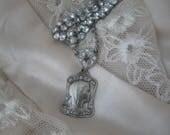 Religious Medal, rhinestone choker, double strand, vintage rhinestone, paste, repurposed vintage, rosary medal, Madonna, Virgin Mary, roses