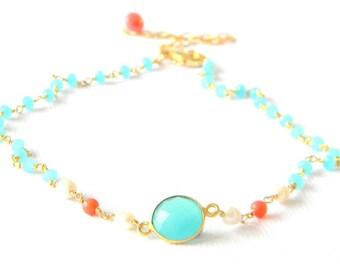 Aqua Chalcedony Pearl Coral Choker Necklace