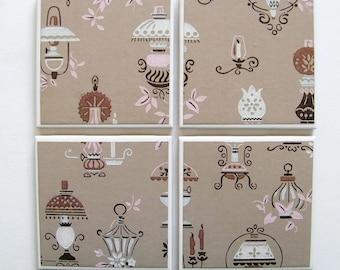 Vintage Wallpaper Coasters - Antique Lamps Pattern