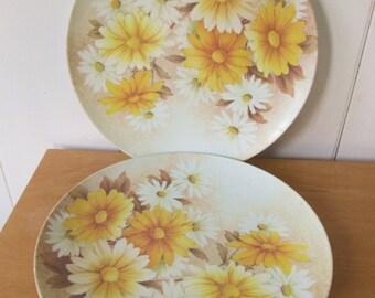 2 vintage daisy melmac dinner plates