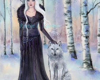 Fantasy woman with white wolf art print by Renee  Lavoie