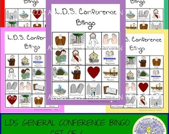 LDS General Conference Bingo Game Set of 6