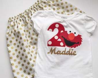 Boutique... ELMO Birthday outfit... Sesame street inspired..gold polka dots...Your child's name in gold and Birthday NUMBER