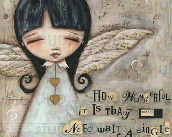 Print of my Original Mixed Media Painting - No Need to Wait - 8 x 10 print