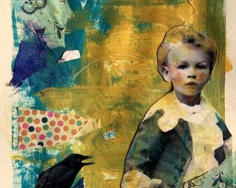 painting  portrait vintage boy mixed media heather murray