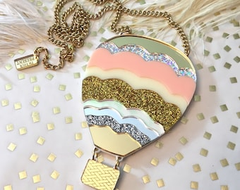 Hot Air Balloon Laser Cut Acrylic Necklace