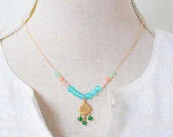 Blue Agate Gemstone Pendant necklace, Boho Pendant Necklace, Mixed Gemstone Gold Filled necklace