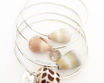 Custom Sterling Silver Hawaiian Sea Shell Bangle SINGLE BANGLE