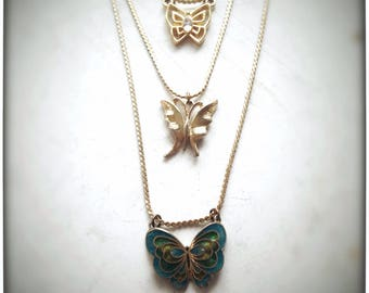 Butterfly Flutter Necklace, upcycled vintage multistrand