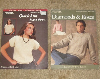 2 Vtg Leisure Arts Leaflets No 318 & No 475-Knitting-Sweaters-Diamonds and Roses-Quick Knit Sweaters-Men's/Womens/Ladies Sweaters