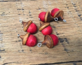 Poppy RED Lucky Acorn Oranments Color Stained Solid Wood