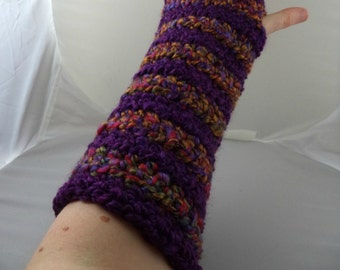 Purple and Multi-Colored Striped Crocheted Arm Warmers (size M-L) (SWG-AW-MH14)