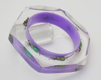 Six sided purple lucite bangle with real exotic beetles