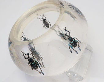 OOAK huge transparent clear lucite art bracelet with exotic real beetles