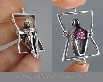 You Have My Heart silver pendant with Pink Topaz - Ready to ship