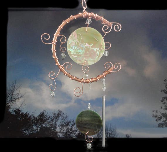 Stained Glass and Copper Wind Chime, Moon and Earth Garden Sculpture, Garden Art, Home Decor, Window Hanging, Earth Day Tribute, Celestial