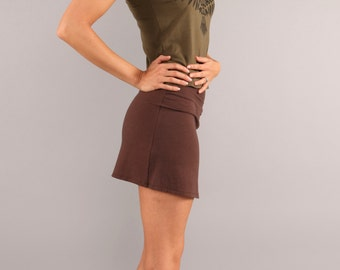 SALE Organic Mini Skirt Chocolate or Olive Sizes Small or Medium Ready to Ship