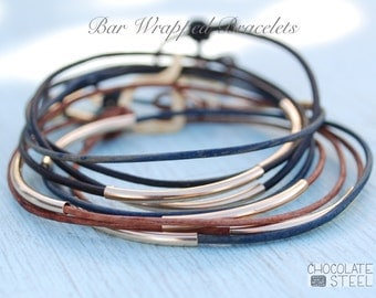 Bar Wrap Bracelets. Handcrafted by artisan Chocolate and Steel leather with gold fill or sterling silver bar.  Stacking bracelets.