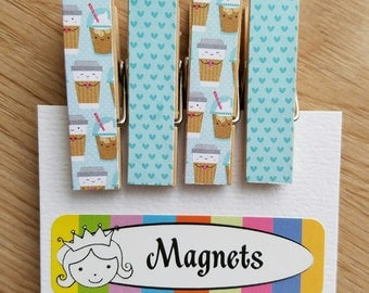 Coffee and Lattes To Go and Little Hearts - Magnets - Set of 4 - Clothespin Clips - Hostess Gift - Ready To Ship - Shower Gift