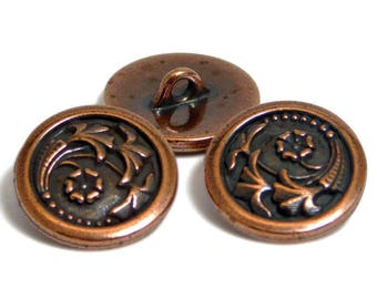 Copper Buttons - TierraCast Button - Floral Buttons - Antique Copper - Metal Buttons - Shank Buttons - 17mm (1001) 2pcs