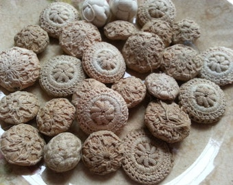 26 Shabby Antique Fabric Buttons. Shabby, As Found.