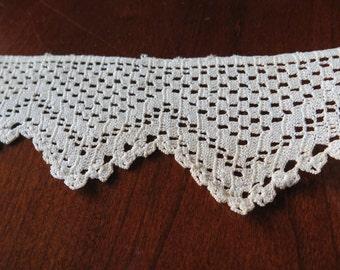 4 Yards Vintage Hand Crochet Cotton Lace