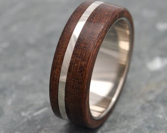 Size 11, 7mm READY TO SHIP White Gold Solsticio Nacascolo - sustainable wood and recycled white gold wood ring, wood wedding band, mens ring