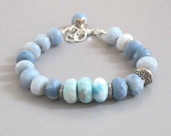 Blue Opal Larimar Bracelet Sterling Silver DJStrang Gemstone Boho Cottage Chic