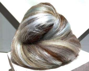 "Grey, Brown fiber art batt, felting wool, spinning fiber, ""My Pet Batt"", roving, silver grey, light blue, tan, white, grey, brown"